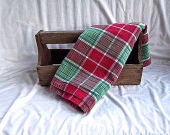 Vintage Cotton Red Green and White Checked Vintage Import Vintage Home and Living Home Decor Light Throw or Table Cloth Display Christmas