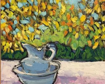 "Underneath the October Trees - Original Acrylic Oil Encaustic Still Life Panting - 8""x 8"""
