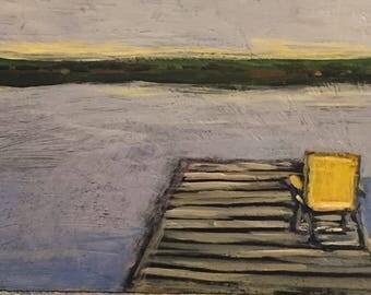 "The Lake Chair - Original Acrylic Oil Encaustic Landscape  Painting - 12"" x 6"""