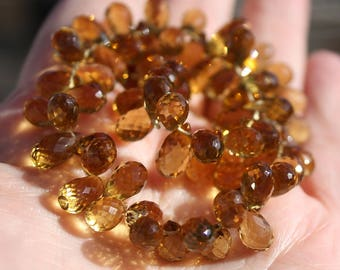 Very Nice Gem Beer Quartz  Faceted Teardrop Briolette Drop  Beads, 8 beads, 8.5-10mm size