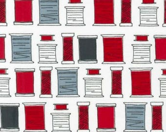 Fabric with Red White and Gray Thread Spoons by Robert Kaufman Last of the Bolt!!  1 1/2 yards