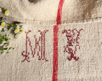 EP 515: antique grainsack, 리넨 STRAWBERRY RED 48.82 long,monogram, pillow, cushion, decoration, french lin, tablerunner, upholstery