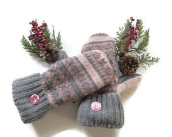 Felted Wool Mittens - Fleece Lined Wool Mittens - Pink & Gray Wool Mittens - Recycled Wool Mittens - Upcycled Wool Mittens - Repurposed Wool