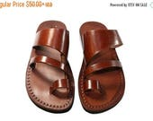15% OFF Brown Thong Leather Sandals For Men & Women - Handmade Sandals, Leather Flip Flops, Jesus Sandals, Leather Flats, Brown Leather Sand