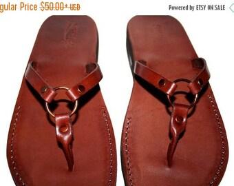 15% OFF Brown Skinny Leather Sandals For Men & Women - Handmade Unisex Sandals, Flip Flop Sandals, Jesus Sandals, Genuine Leather Sandals