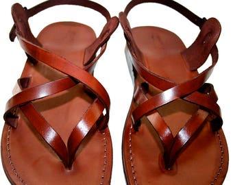 CLEARANCE SALE - BLUE Mix Leather Sandals for Men & Women - Euro # 45 - Handmade Unisex Sandals, Genuine Leather Sandals, Sale