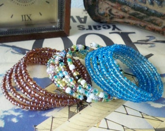 Set of 3 Seed Bead Wrap Bracelets - Many ways to wear - Iridescent - Blue, Multi and Brown Beads - Boho chic - Bohemian Jewelry - bycat