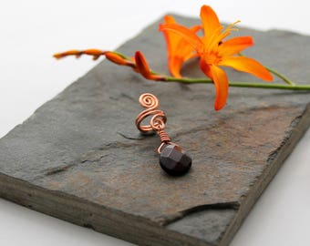 Spiral with Garnet dangle Beard, Dreadlock or braid ring or bead - Shiny Copper - Medium