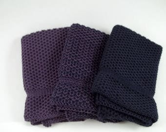 Knit Cotton Dishcloths in Eggplant and Jazz Blue