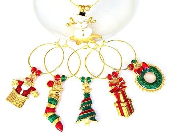 6 gold Christmas wine charms, holiday enameled wine glass charms, hostess gift, kitchen organization, book club gift, tree, stocking, wreath