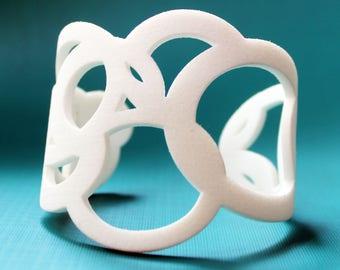 Statement 3D printed white Cuff. White 3D Printed Bracelet. Plastic Jewelry. Large Bracelet. White Jewelry. Nylon Bracelet. 3D Printed Nylon
