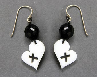 black white heart earrings. White laser cut earrings. Black glass bead earrings. laser cut arylic plastic. Sterling earrings. heart jewelry