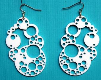 White Laser cut Earrings. Geometric earrings. Acrylic Earrings. Bubble earrings. Large White earrings. Statement earrings. Gift for her
