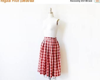 20% OFF SALE 60s red plaid skirt, vintage plaid pleated skirt, red and black plaid cotton skirt, xs extra small