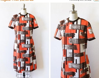 20% OFF SALE vintage mod dress, 60s mod scooter dress, 70s shift dress, orange brown white dress, large l
