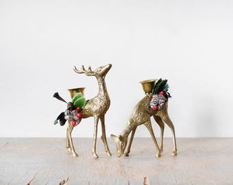 vintage brass deer candle holders, christmas brass deer figurines, mid century holiday decor, brass candlestick holders