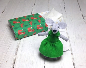 Woodland animals stocking stuffer kids birthday gift felt mouse mouse plush stuffed animal emerald green felt animals set woodland nursery