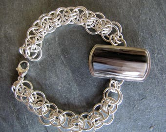 Bracelet of Petrified Ash Wood and Sterling Silver Chain Maille