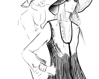 Vintage Sewing Pattern Groovy Felt Wide Brim Hat-Fringed Vest 1970's Instant Download Average Head Size 22 Inches