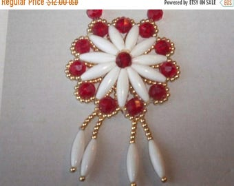 SALE Plastic Beads Necklace Gold Red White