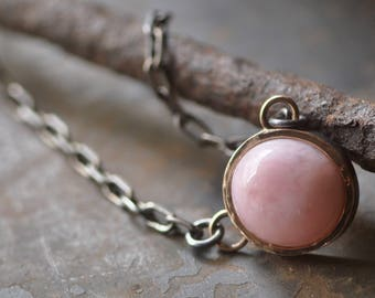 Pink Opal necklace with in sterling silver with 14k gold frame