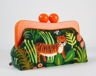Resin frame clutch bag - Jungle hunter - Awesome purse / Orange frame / Japanese fabric / Cotton and Steel / Rifle Paper Co / Menagerie