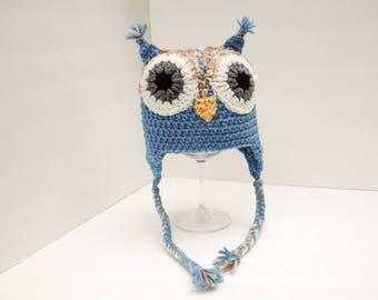 Owl Hat, Little Hoot, Youth Size Blue & Tan