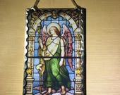 Archangel Raphael Plaque Soldered Flat Glass Wall Ornament