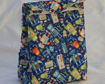Robots All Over Fully Insulated Lunch Bag Water and Mildew Resistant Interior-Brown Paper Bag Style