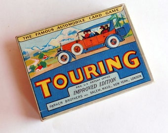 "Vintage Antique ""Touring"" Card Game by Parker Brothers - ""Improved Edition"" Copyright 1926 - Complete w/ Instructions, 99 Cards - Litho Box"