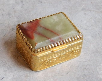 Vintage Chiarugi Pill Box - Natural Stone Top, Embossed Goldtone Metal, Hinged Lid - SRL Firenze Made in Italy Mid-Century Tiny Trinket Box