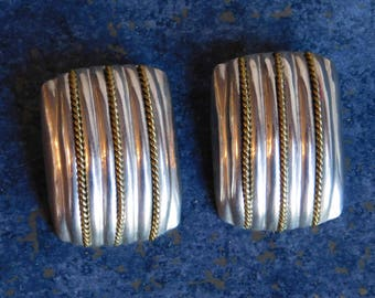 Vintage Laton Mexican Sterling Silver Large Geometric Earrings - 1980s Clip-Ons w/ Goldtone Twisted Rope Detail - Taxco Artisan Made, Signed