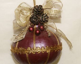 Christmas Gourd Ornament, Burgundy and Gold, Pine cones