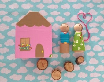 Wooden Peg Doll Couple with Wooden Cottage
