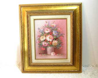 Gold Framed Flower Painting, Vintage Painting