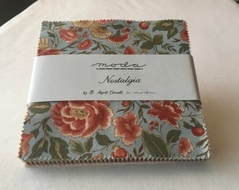 RARE Nostalgia Charm Pack April Cornell Out of Print Florals Paisleys Romantic Quilting Squares Rose Blue Green Tan piecesofpine