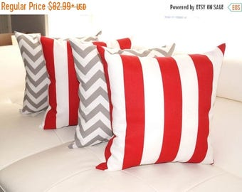Premier Prints Zig Zag Gray and Vertical Stripe Rojo Red Outdoor Throw Pillows - Set of 4 - Free Shipping