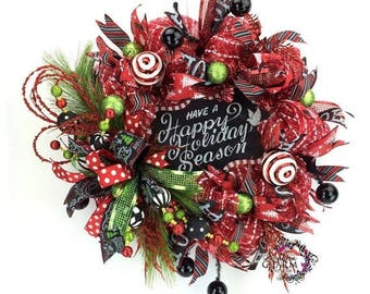 ON SALE Have a Happy Holiday Season Wreath, Red Black Lime Green Deco Mesh Christmas Wreath, Chalkboard Theme Christmas Wreath, Christmas Do