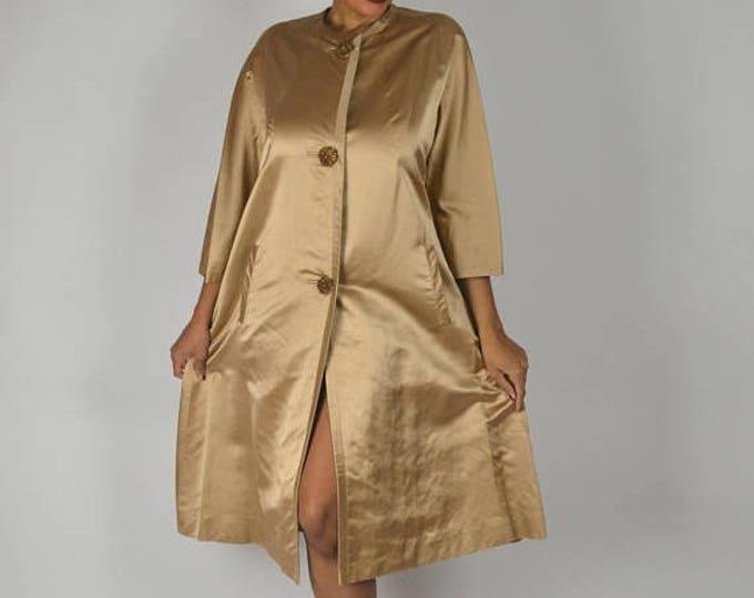 sale Vintage Evening Coat, 60s Coat, Gold  Coat, Bridal Coat, Cocktail Coat, Wedding Coat, Evening Jacket, Satin Coat,  Jackie O Coat