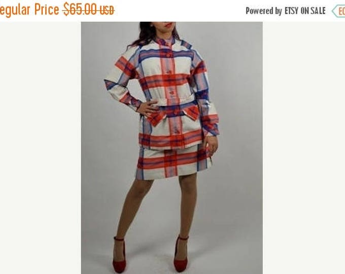 sale Vintage Suit, 60s Suit, Jacket Skirt Set, Skort Skirt, Plaid Suit, Red White Blue, Spring Suit, Summer Suit,1960s Suit, Cotton Suit