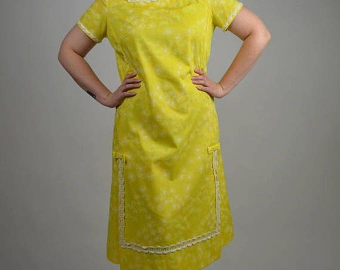 sale Vintage Lilly Pulitzer, Lilly Dress, Yellow Shift Dress, Summer Dress, 70 Dress, 1970s Dress, Dandelion Print, Cotton Dress, Preppy Dre