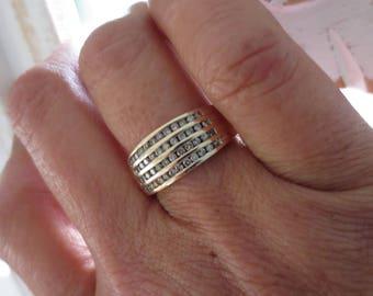Diamond 10K Yellow Gold Band Ring Champagne Gemstone Channel Set Vintage Estate Fine Jewelry NOS Wedding April Birthstone Genuine NOS