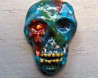 SLIMEY SKULL MAGNET Handpainted Fridge Magnet Kitchen Halloween Folk Art