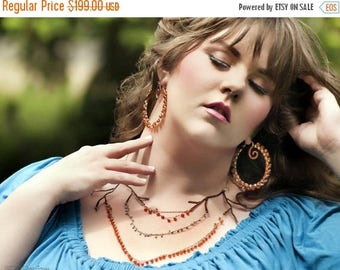 Blow out SALE Copper branch hanging stones statement necklace in carnelian and turquoise