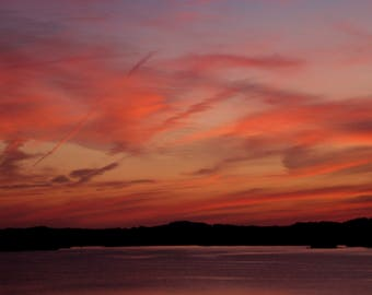 Rosy Sky photograph on canvas sunset red orange framed Jean Macaluso