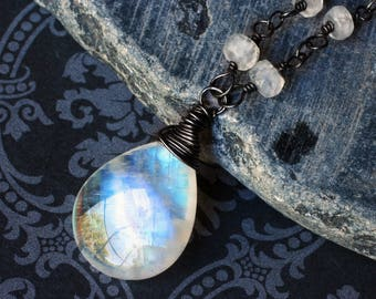 """Rainbow Moonstone Necklace on Oxidized Sterling Silver - """"Icewind"""" by CircesHouse on Etsy"""