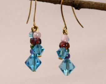 Crystal and Seed Bead Earrings