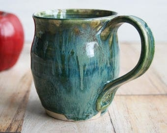 Textured Green Stoneware Mug Ceramic Pottery Coffee Cup 12 oz. Handcrafted Ready to Ship Made in USA