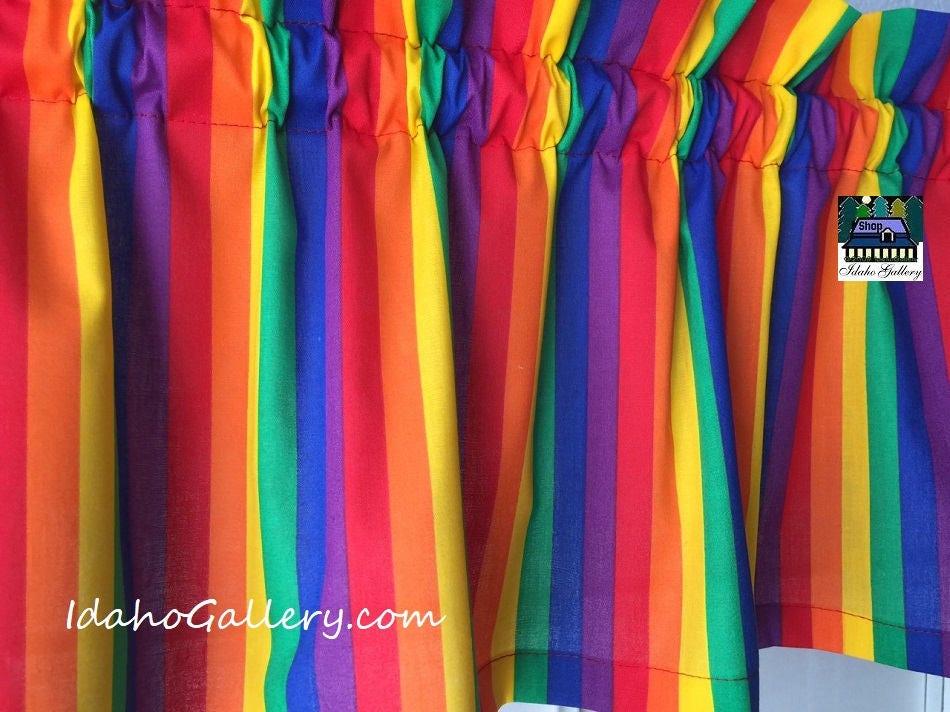 Rainbow Stripe Curtain Bright Colorful Window Child S Room