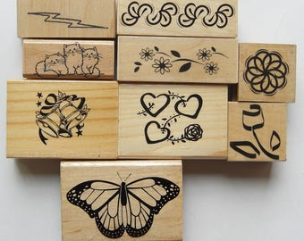9 Rubber Stamps Set Butterfly, Heart rose, rose, Bells, three cats, lightning bolt, circle pattern, flower, and pattern